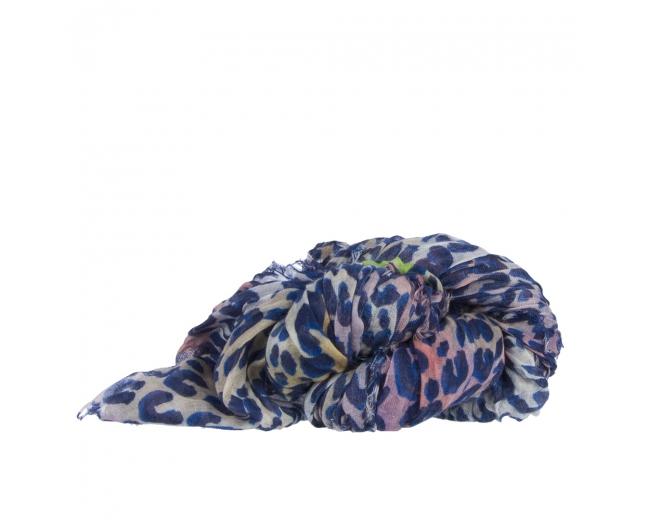 LV Pañuelo Leopard Cachimire Azul