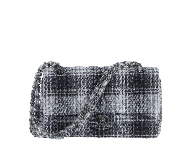 Chanel Timeless Tweed Cuadros Gris