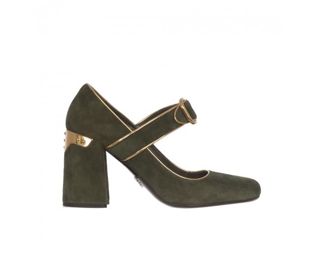 Prada Zapatos Mary Jane Ante Verde 37.5