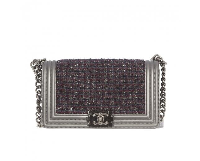 Chanel Bolso Boy Le Metallic Tweed