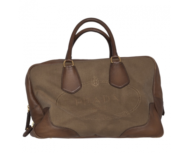 Prada Bolso Satchel Canvas Beige