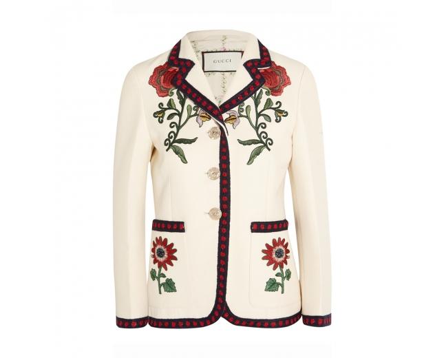 Gucci Blazer Blanca Bordado Floral T 38