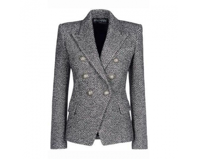 Balmain Blazer Tweed Gris T 40