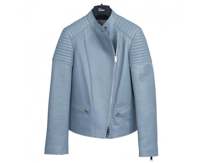 Dior Cazadora Piel Azul T 38