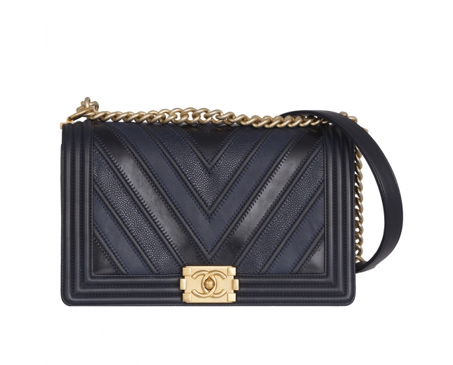 Chanel Boy Chevron Azul Patchwork