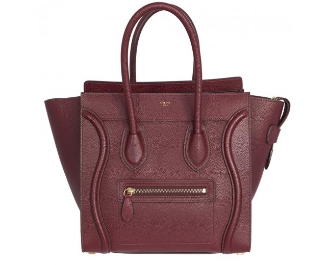 Celine Bolso Luggage Micro Burdeos