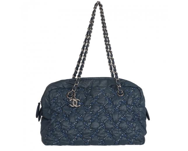 Chanel Bolso Acolchado Tweed Nylon Azul