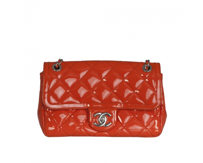 Chanel Bolso Clásico Naranja Charol