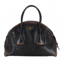 Prada Bolso Bowler Distressed Marrón