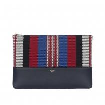Celine Solo Clutch Pouch Rayas Navy