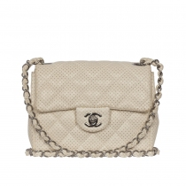 Chanel Mini Classic Perforado Blanco