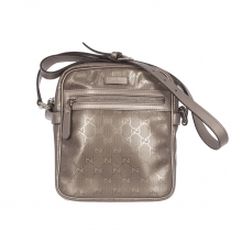 Gucci Silver Imprimed GG Zip Crossbody