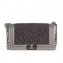 Chanel Bolso Boy Le Metallic Tweed