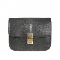 Celine Bolso Classic Box Galuchat Gris
