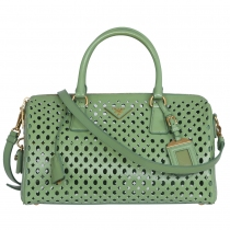 Prada Bolso Boston Perforado Verde