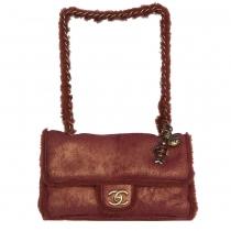 Chanel Bolso Shearling Rojo Dorado