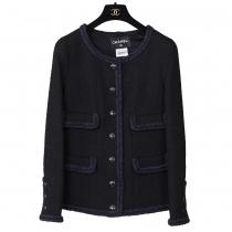 Chanel Tweed Blazer Negra T 38