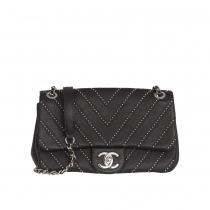 Chanel Bolso Negro Tachuelas Chevron